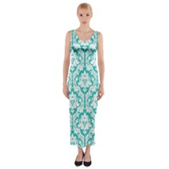 Turquoise Damask Pattern Fitted Maxi Dress