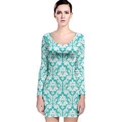 Turquoise Damask Pattern Long Sleeve Velvet Bodycon Dress
