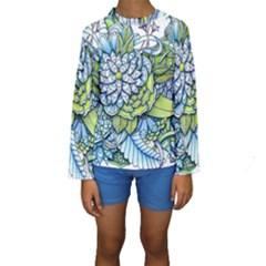 Peaceful Flower Garden Kid s Long Sleeve Swimwear