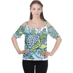 Peaceful Flower Garden Women s Cutout Shoulder Tee