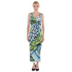 Peaceful Flower Garden Fitted Maxi Dress