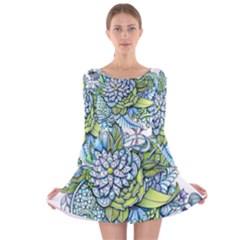 Peaceful Flower Garden Long Sleeve Velvet Skater Dress