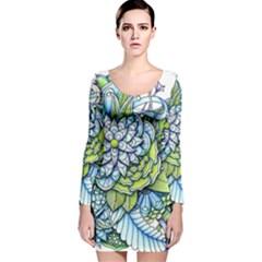 Peaceful Flower Garden Long Sleeve Velvet Bodycon Dress