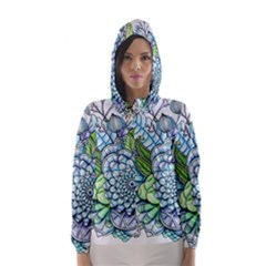 Peaceful Flower Garden 2 Hooded Wind Breaker (Women)