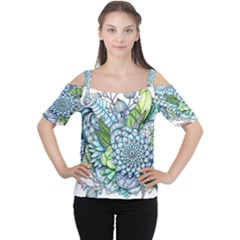 Peaceful Flower Garden 2 Women s Cutout Shoulder Tee