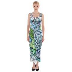 Peaceful Flower Garden 2 Fitted Maxi Dress