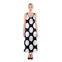 Black And White Polkadot Full Print Maxi Dress