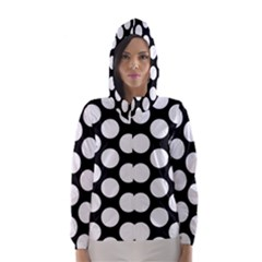 Black And White Polkadot Hooded Wind Breaker (Women)