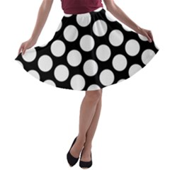 Black And White Polkadot A-line Skater Skirt
