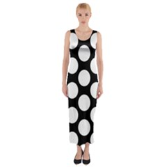 Black And White Polkadot Fitted Maxi Dress
