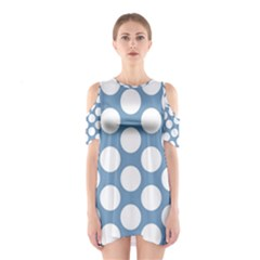 Blue Polkadot Cutout Shoulder Dress