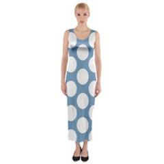 Blue Polkadot Fitted Maxi Dress