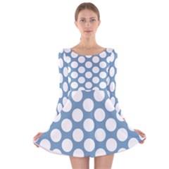 Blue Polkadot Long Sleeve Velvet Skater Dress