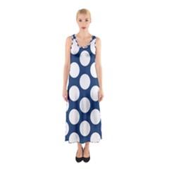 Dark Blue Polkadot Full Print Maxi Dress