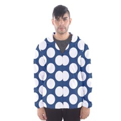Dark Blue Polkadot Hooded Wind Breaker (Men)