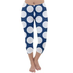 Dark Blue Polkadot Capri Winter Leggings