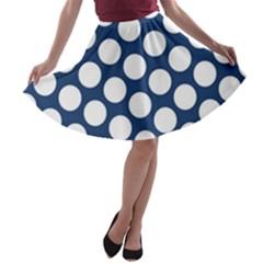 Dark Blue Polkadot A-line Skater Skirt
