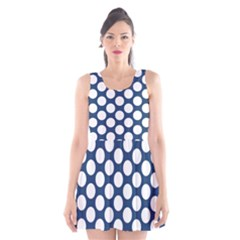 Dark Blue Polkadot Scoop Neck Skater Dress