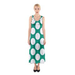 Emerald Green Polkadot Full Print Maxi Dress