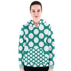 Emerald Green Polkadot Women s Zipper Hoodie