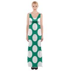 Emerald Green Polkadot Maxi Thigh Split Dress