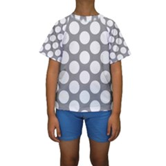 Grey Polkadot Kid s Short Sleeve Swimwear