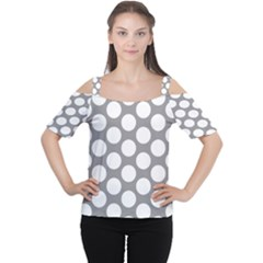 Grey Polkadot Women s Cutout Shoulder Tee