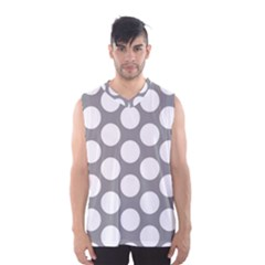 Grey Polkadot Men s Basketball Tank Top