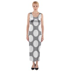 Grey Polkadot Fitted Maxi Dress