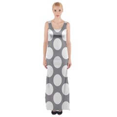 Grey Polkadot Maxi Thigh Split Dress