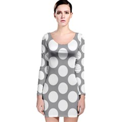 Grey Polkadot Long Sleeve Velvet Bodycon Dress
