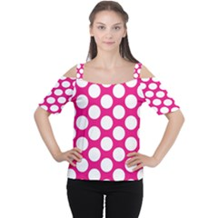 Pink Polkadot Women s Cutout Shoulder Tee