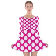 Pink Polkadot Long Sleeve Velvet Skater Dress