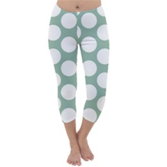 Jade Green Polkadot Capri Winter Leggings