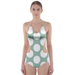 Jade Green Polkadot Cut-Out One Piece Swimsuit