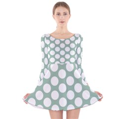 Jade Green Polkadot Long Sleeve Velvet Skater Dress