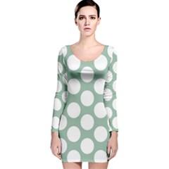 Jade Green Polkadot Long Sleeve Velvet Bodycon Dress