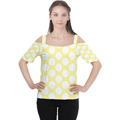 Yellow Polkadot Women s Cutout Shoulder Tee