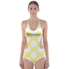 Yellow Polkadot Cut Out One Piece Swimsuit