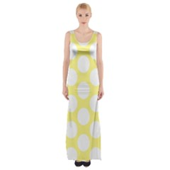 Yellow Polkadot Maxi Thigh Split Dress