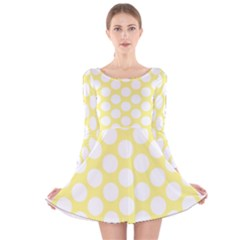 Yellow Polkadot Long Sleeve Velvet Skater Dress