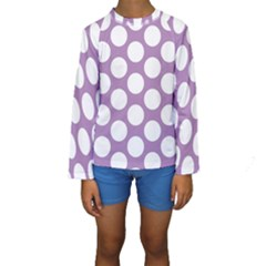 Lilac Polkadot Kid s Long Sleeve Swimwear