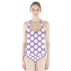Lilac Polkadot Women s Halter One Piece Swimsuit