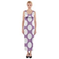 Lilac Polkadot Fitted Maxi Dress