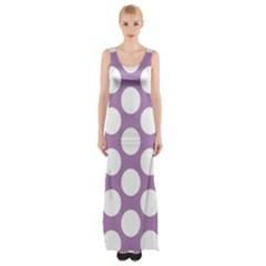 Lilac Polkadot Maxi Thigh Split Dress