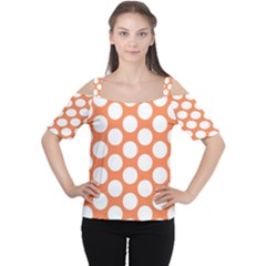 Orange Polkadot Women s Cutout Shoulder Tee