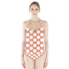 Orange Polkadot Women s Halter One Piece Swimsuit