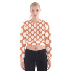 Orange Polkadot Women s Cropped Sweatshirt