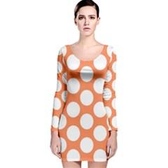 Orange Polkadot Long Sleeve Velvet Bodycon Dress