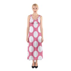 Pink Polkadot Full Print Maxi Dress